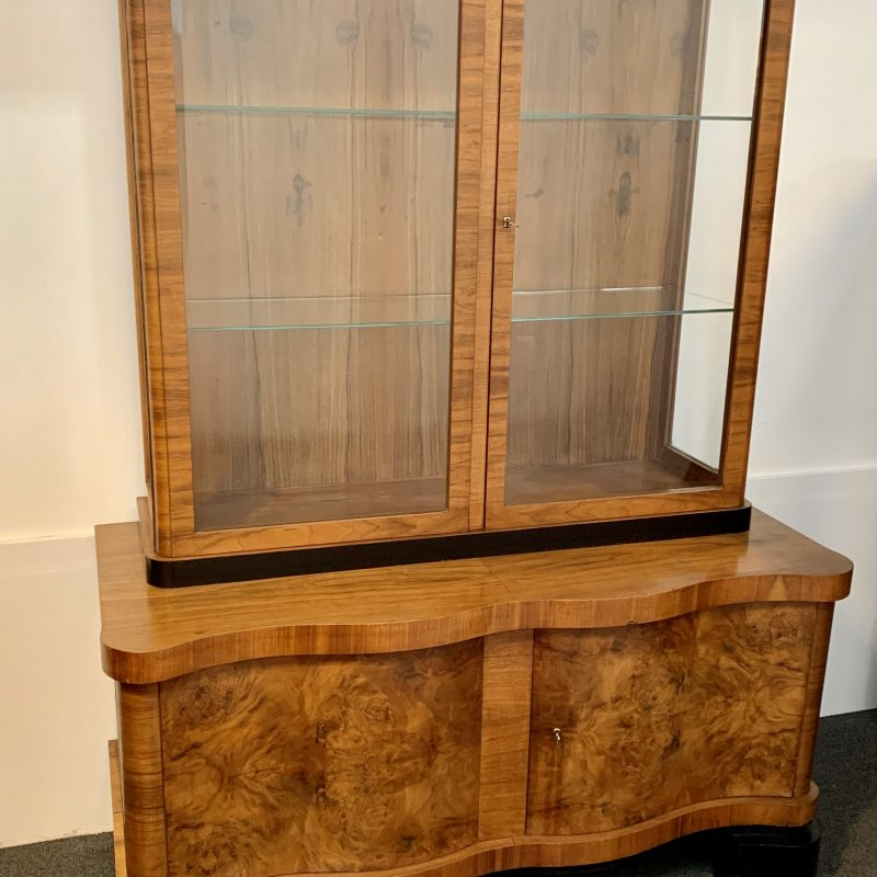 Art Deco European Walnut Display Cabinet