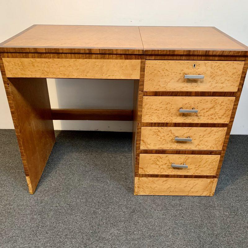 Art Deco Birds Eye Maple with Walnut Banding Desk/Dressing Table