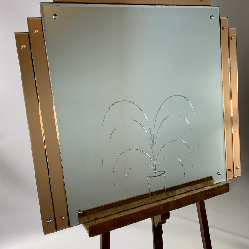 Art Deco Mirror with Etched Fountain Design and Stepped Copper Edges