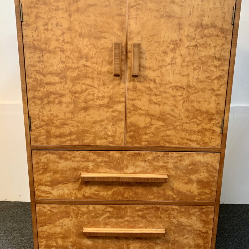 Art Deco Birds Eye Maple Tallboy Cabinet