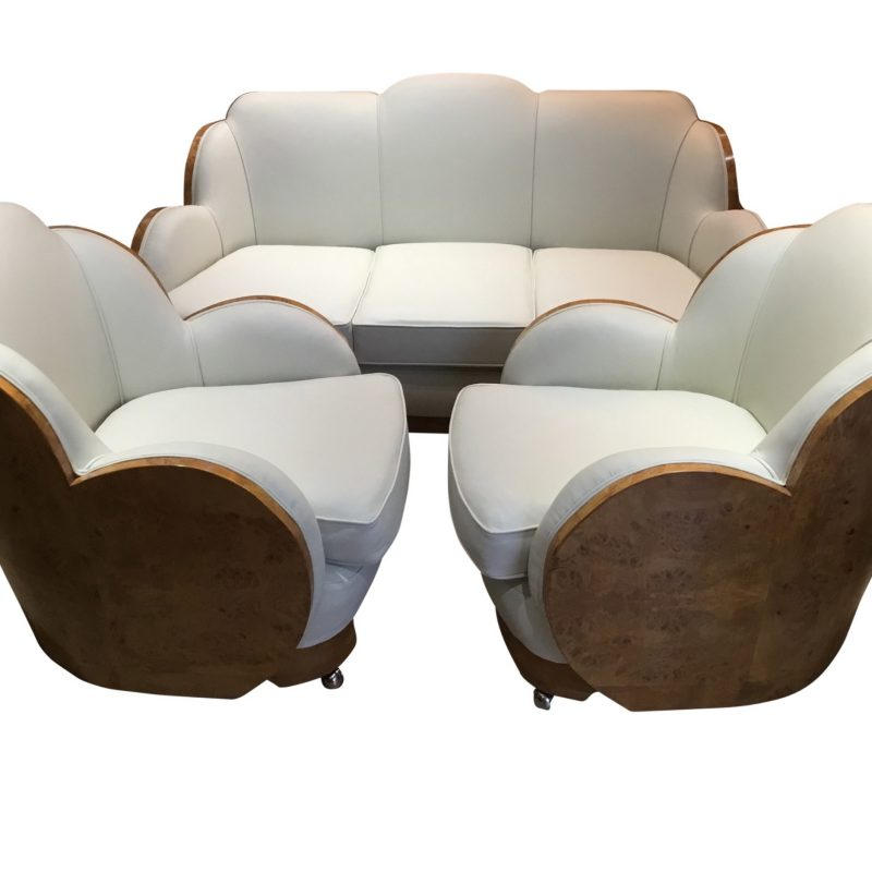 Epstein Cloud Art Deco Walnut Backed 3 Seater Sofa and 2 Armchairs