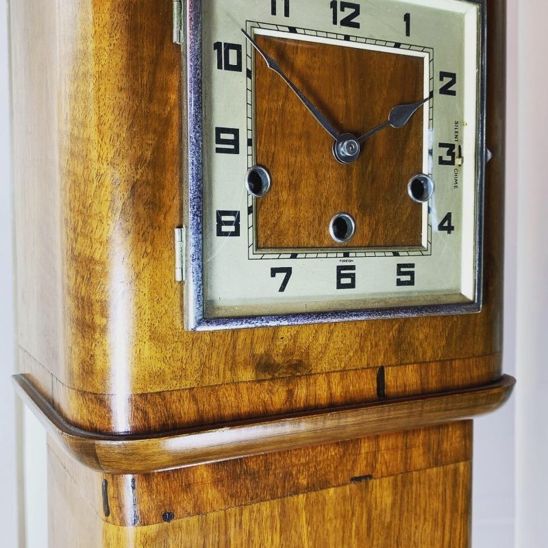 Art Deco Walnut Granddaughter Clock