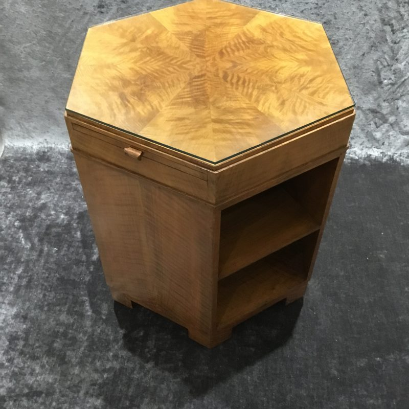 Art Deco Hexagonal Fiddle Back Maple Side Table with Pull Out Shelves