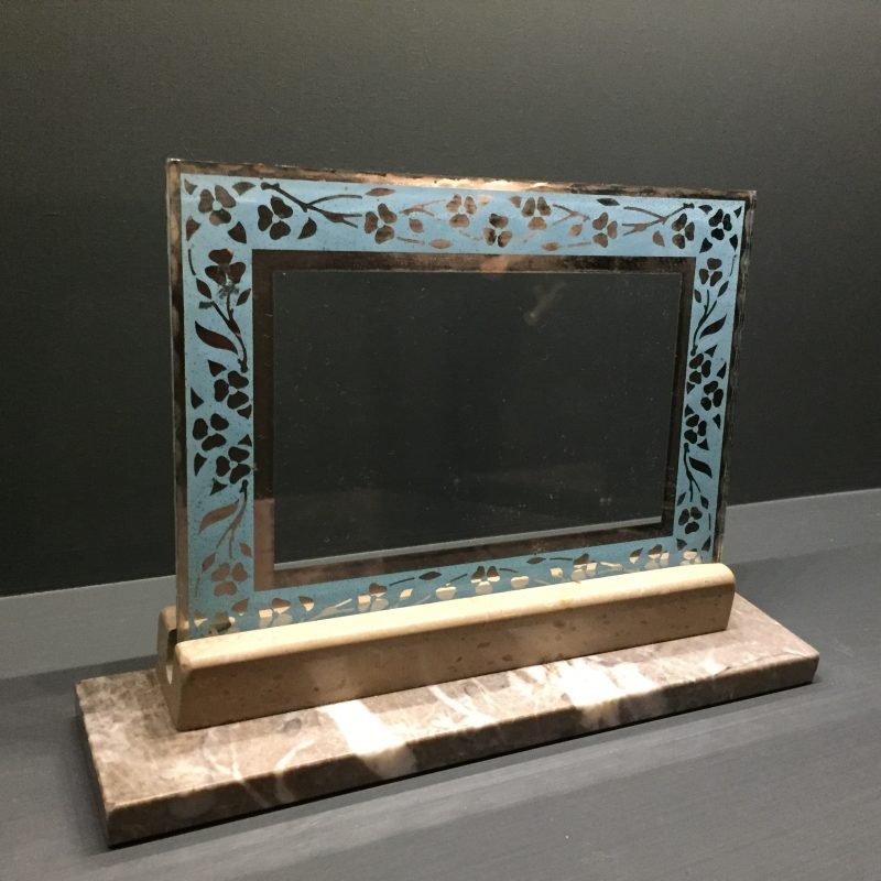 French Art Deco Photo/Picture Frame Blue Edged detail on Glass