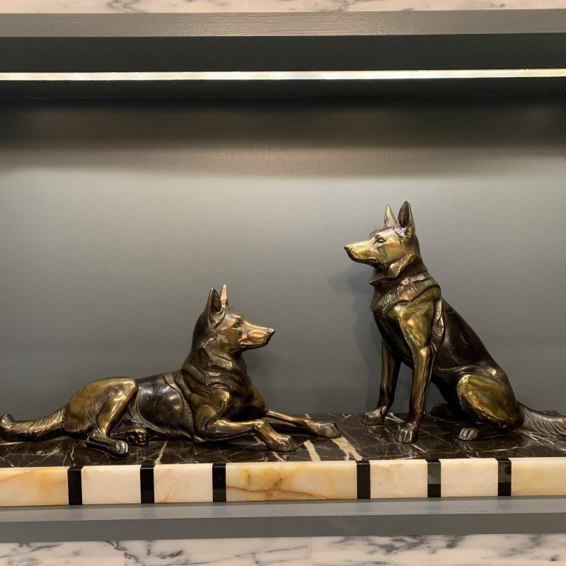 French Art Deco Large Spelter Alsatians on a marble base
