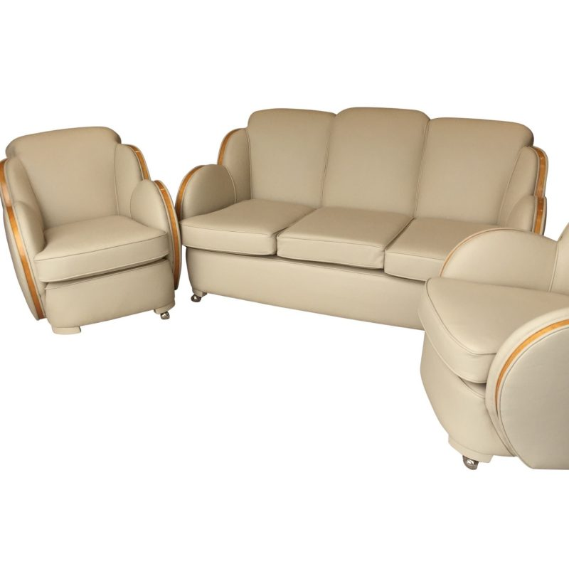 Epstein Cloud Art Deco Satinwood Edged 3 Seater Sofa and 2 Armchairs