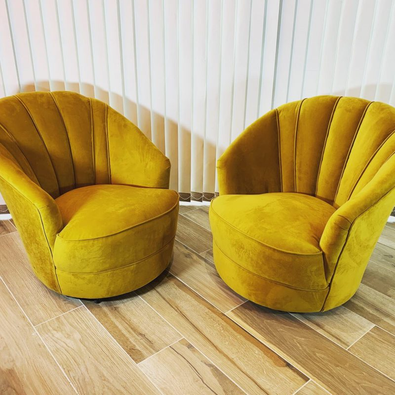 A Pair of Gold Velvet Art Deco Cocktail Chairs