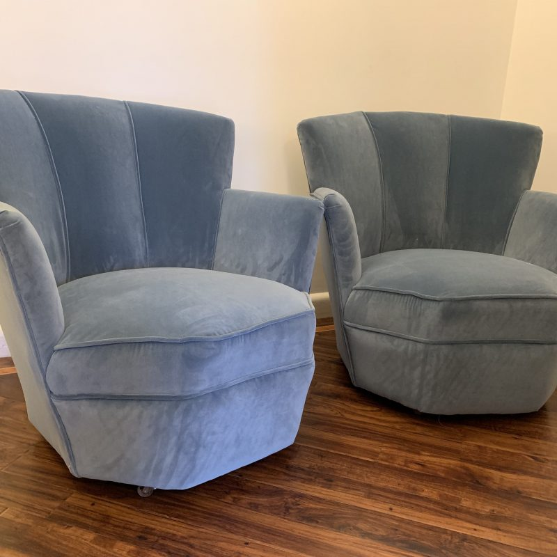 A Pair of Art Deco Powder Blue Cocktail Chairs