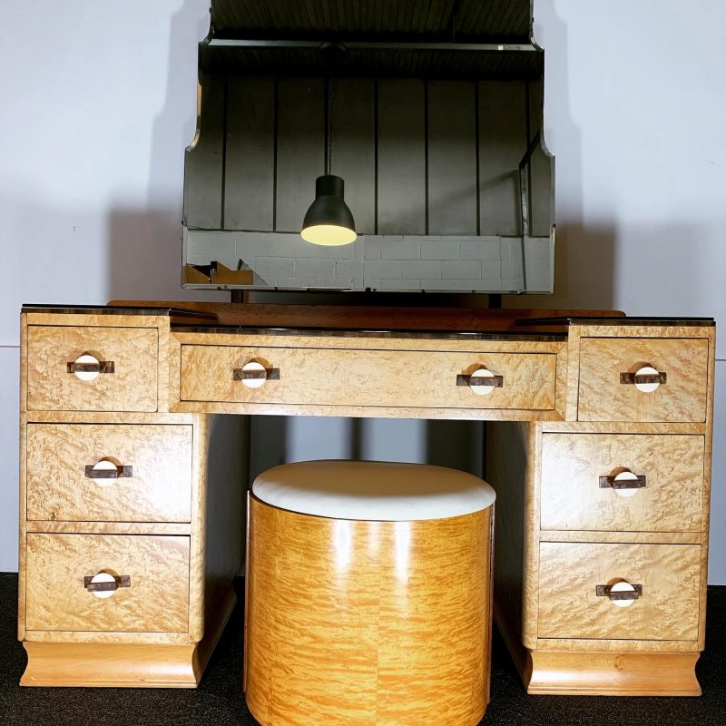 Art Deco Birds Eye Maple Dressing Table and Stool