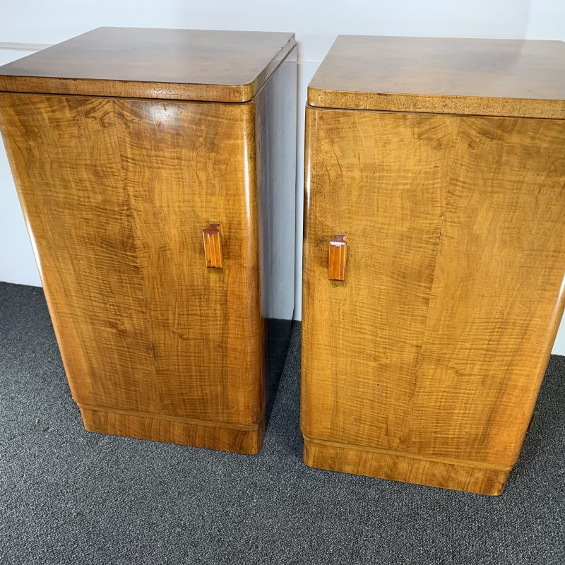 Art Deco Pair of Walnut Bedside Cabinets with Bakelite Handles
