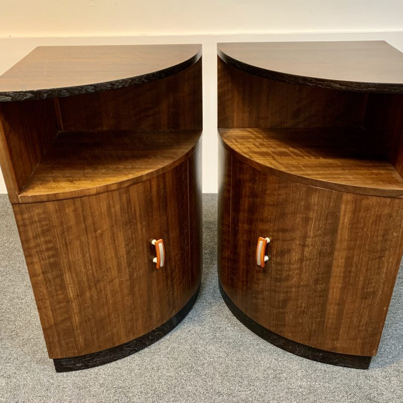 Art Deco Wolfe and Hollander Flamed Walnut Bedside Cabinet
