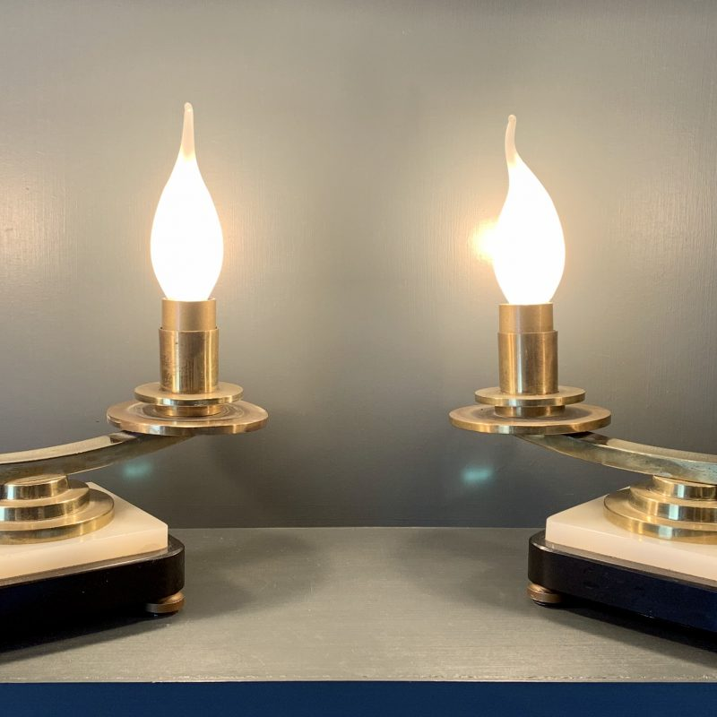 French Art Deco Pair of Lamps