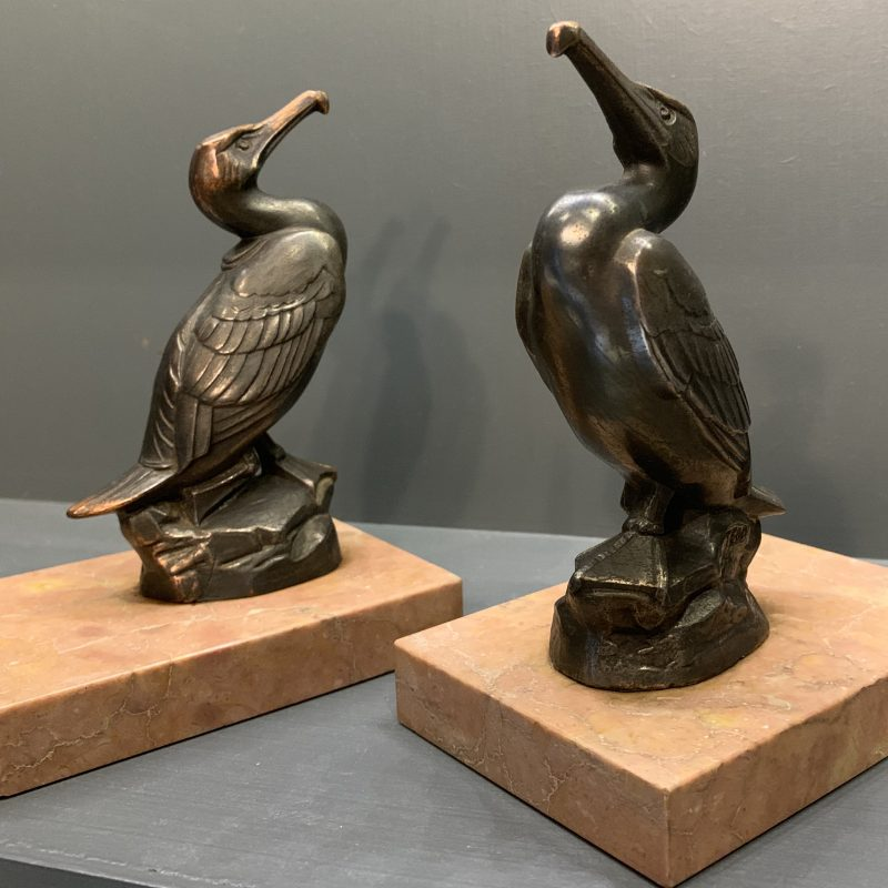 French Art Deco Pair of Spelter Cormorants on a marble base Stamped TEDD