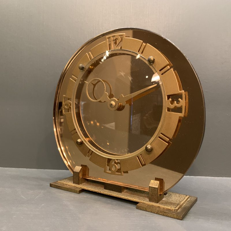 Art Deco Copper Mirrored Mantel Clock