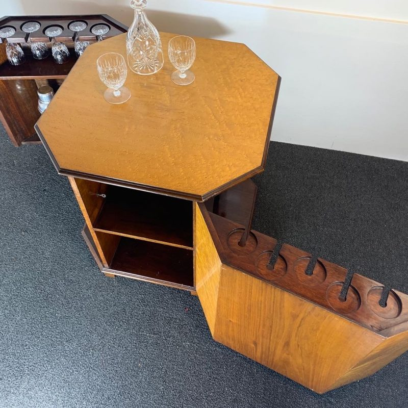 Art Deco Walnut Cocktail Cabinet Table