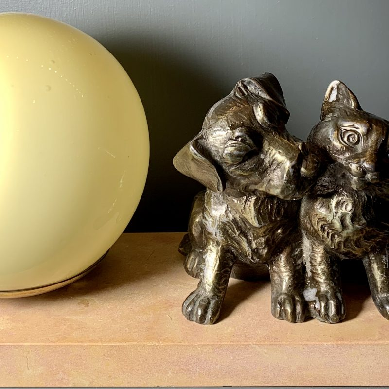 French Art Deco Mood Lamp with Cat and Dog