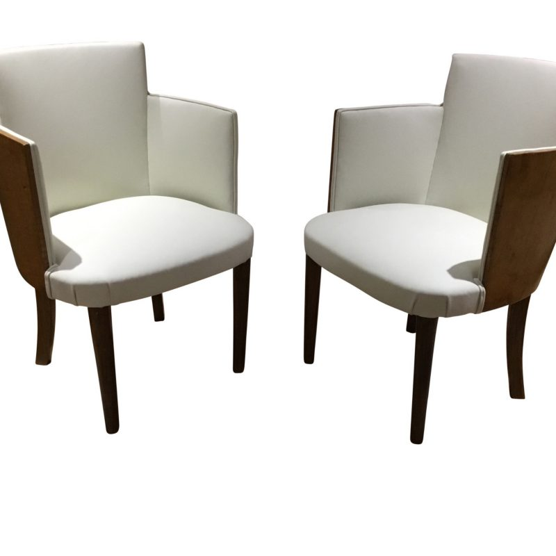Pair of Art Deco Maple and Leather Occasional Chairs