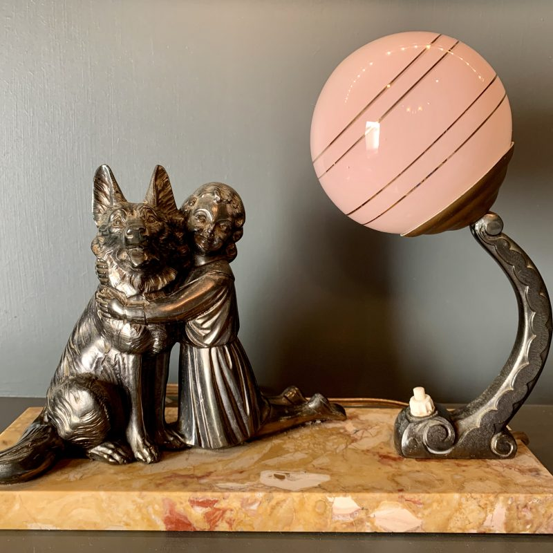 French Art Deco Mood Lamp with a Girl and her Dog