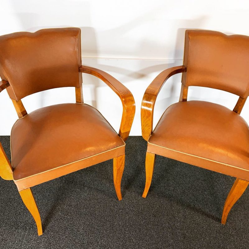 French Pair of Art Deco Bridge Chairs by Oxedou
