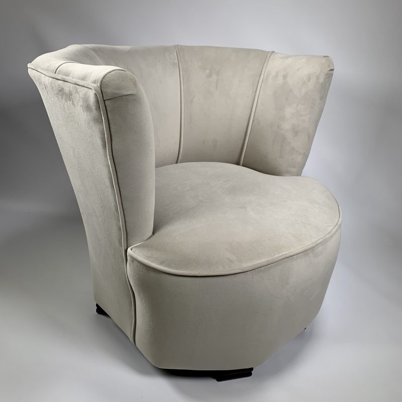 Art Deco Stone Coloured Velvet Bedroom/Cocktail/Tub Chair