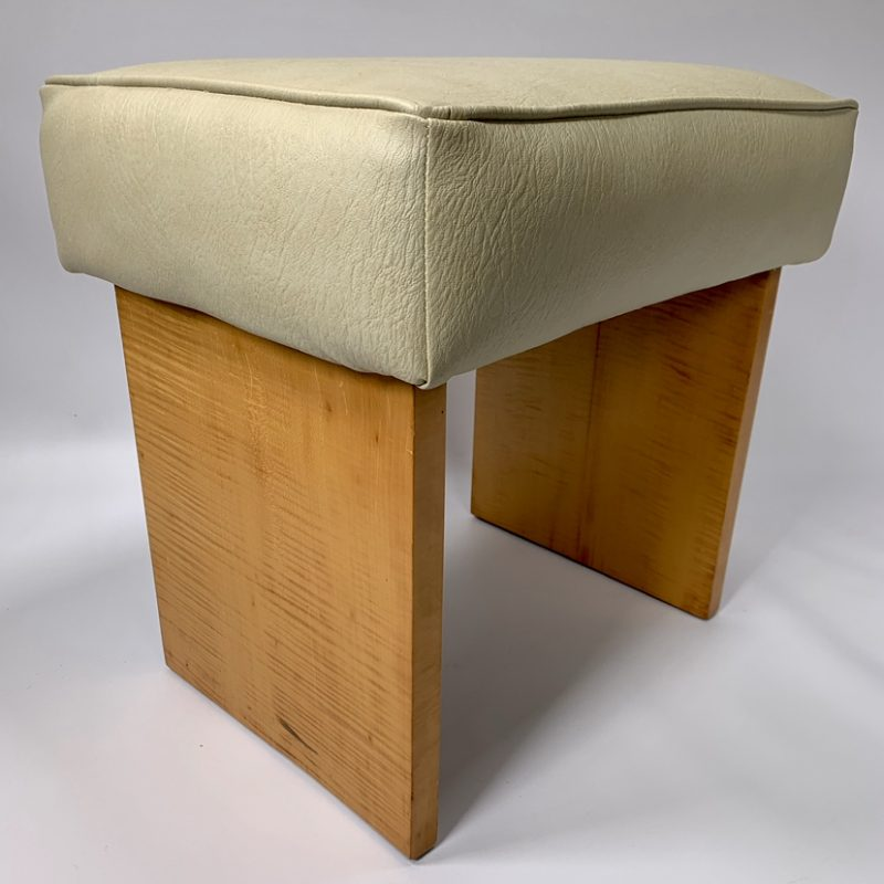 Art Deco Sycamore Stool with Cream Leatherette Top