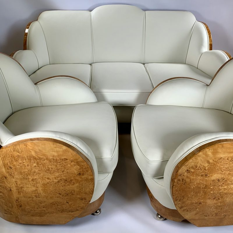Art Deco Cloud Walnut Backed Epstein 3 Seater Sofa and 2 Armchairs