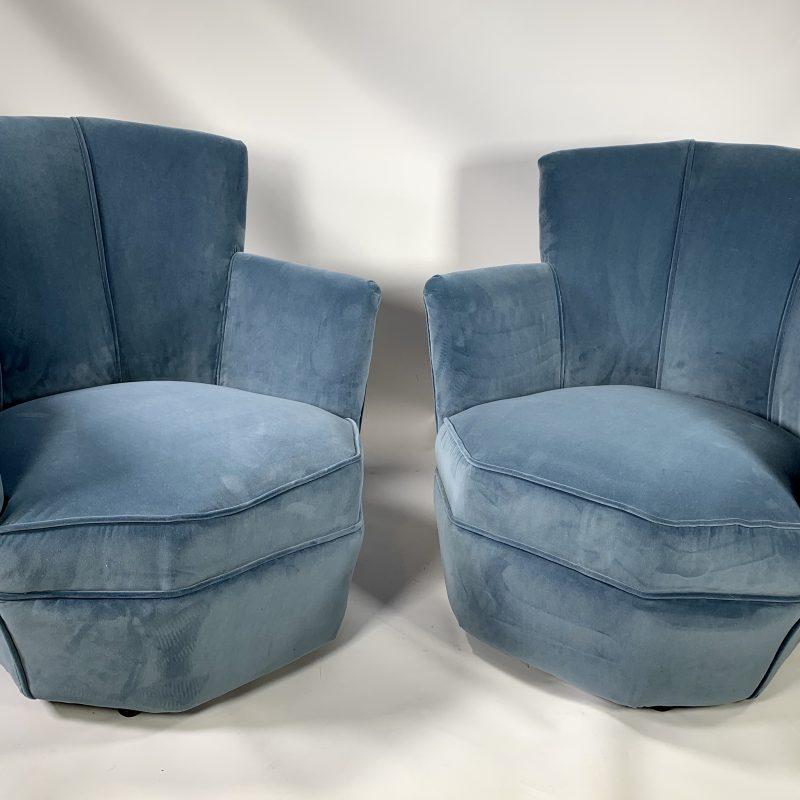 A Pair of Art Deco Powder Blue Cocktail Chairs