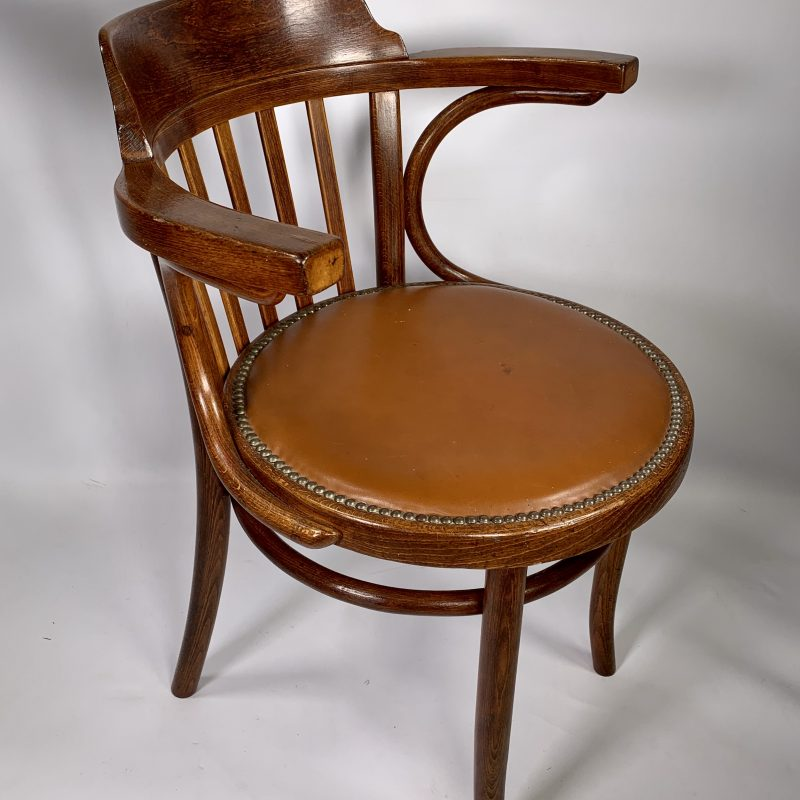Thonet Bentwood Chair with Tan Leather Seat