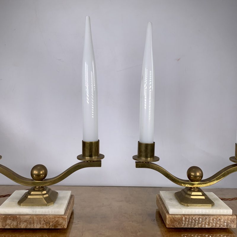 French Art Deco Pair of Candle Lamps