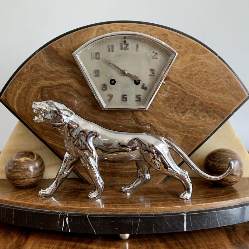 French Art Deco Chrome Panther Marble Clock