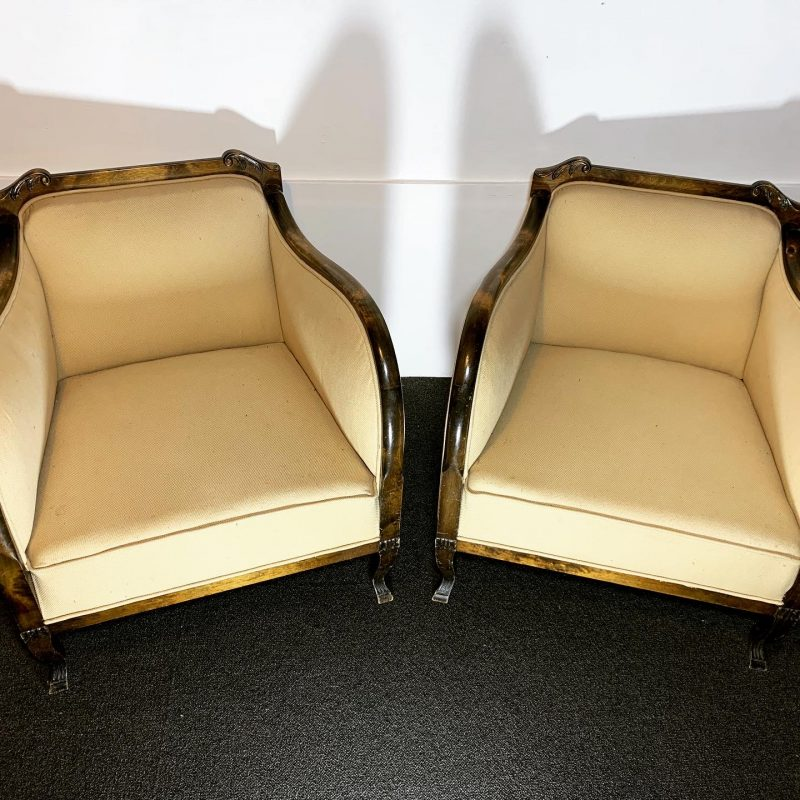 Art Deco Pair of Armchairs for Re-upholstery