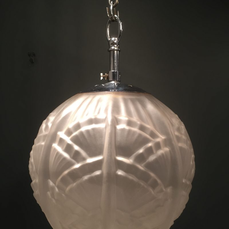 Art Deco Large Pendant Ceiling Light with Long Chrome Chain