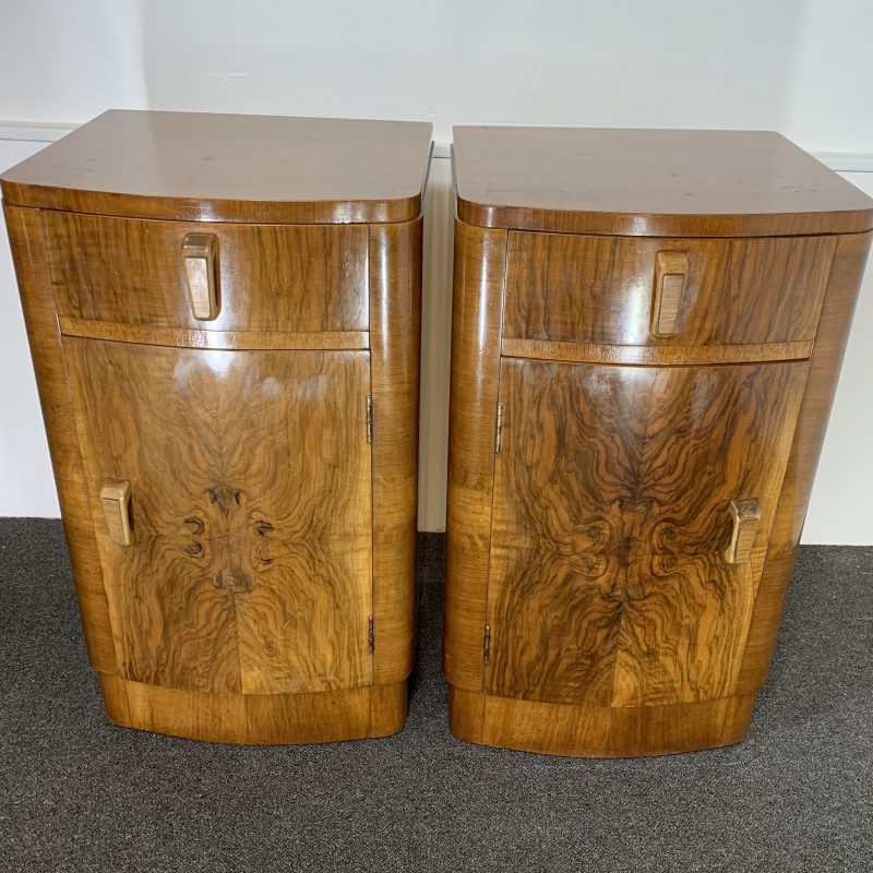 Art Deco Pair of Walnut Bedside Cabinets