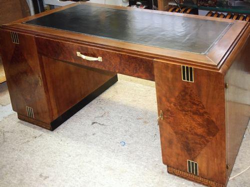 French Art Deco Walnut Partners Desk
