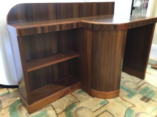 Art Deco Walnut Bookcase Desk