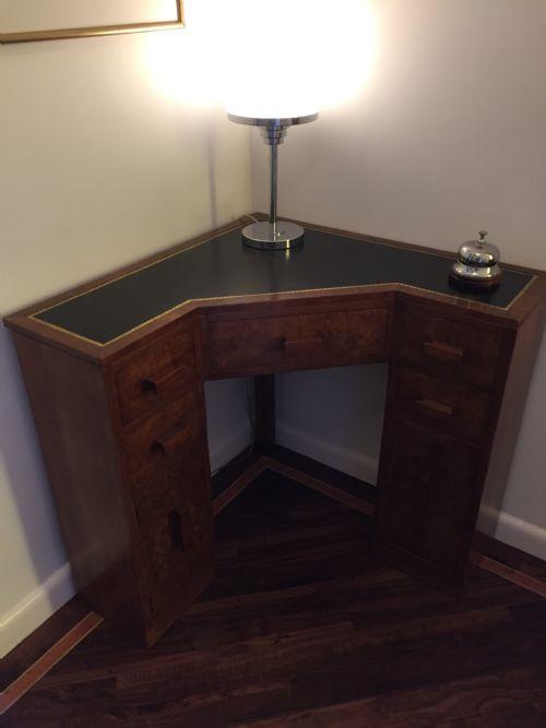 Art Deco Walnut Corner Desk