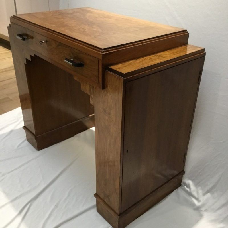 Art Deco Walnut Serving Table with Cutlery