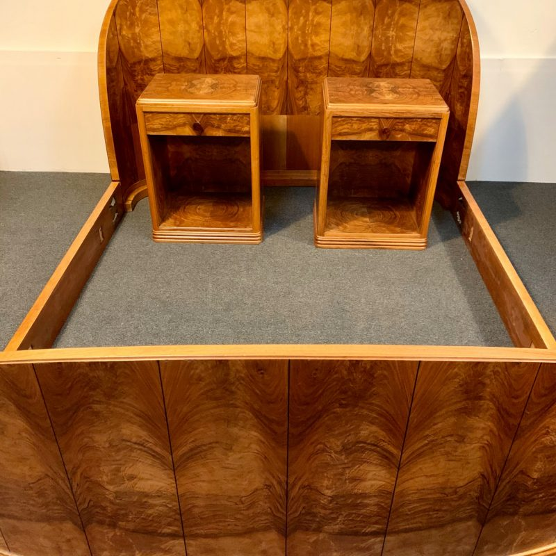 French Art Deco Bed with Matching Bedside Cabinets