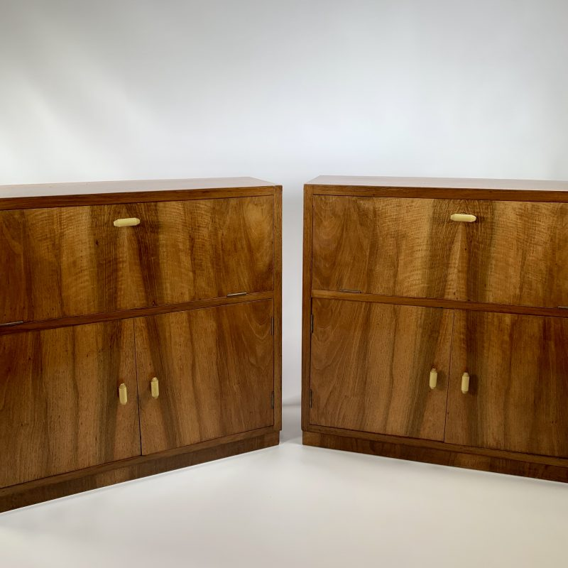 Art Deco Pair of Walnut Cabinets
