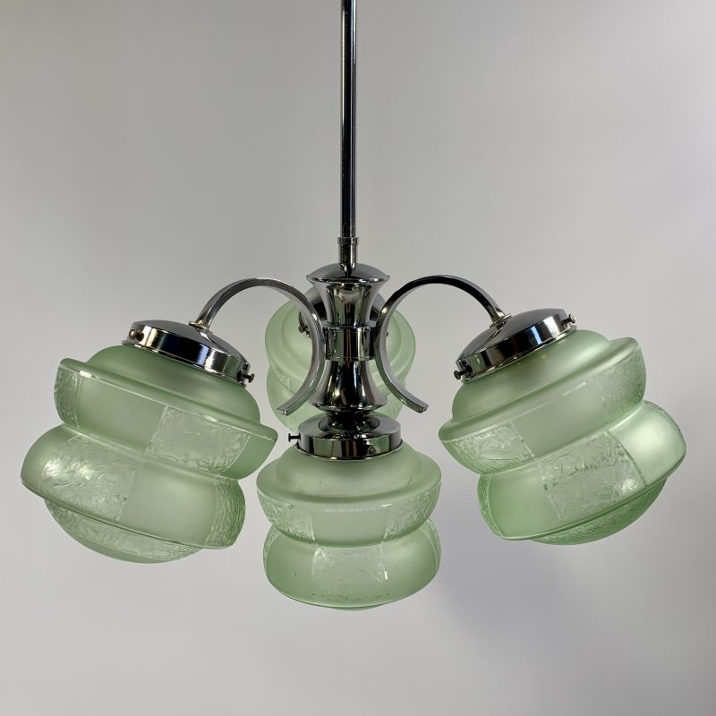 Art Deco Pendant Light with Green Globes