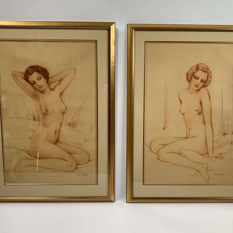 Henri Launay Pair of Art Deco Nude Pastel and Watercolour
