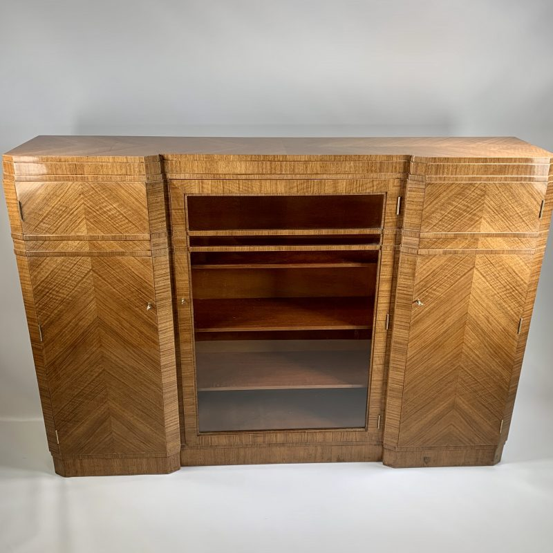 Art Deco Walnut Bookcase Display Cabinet by Maple and Co