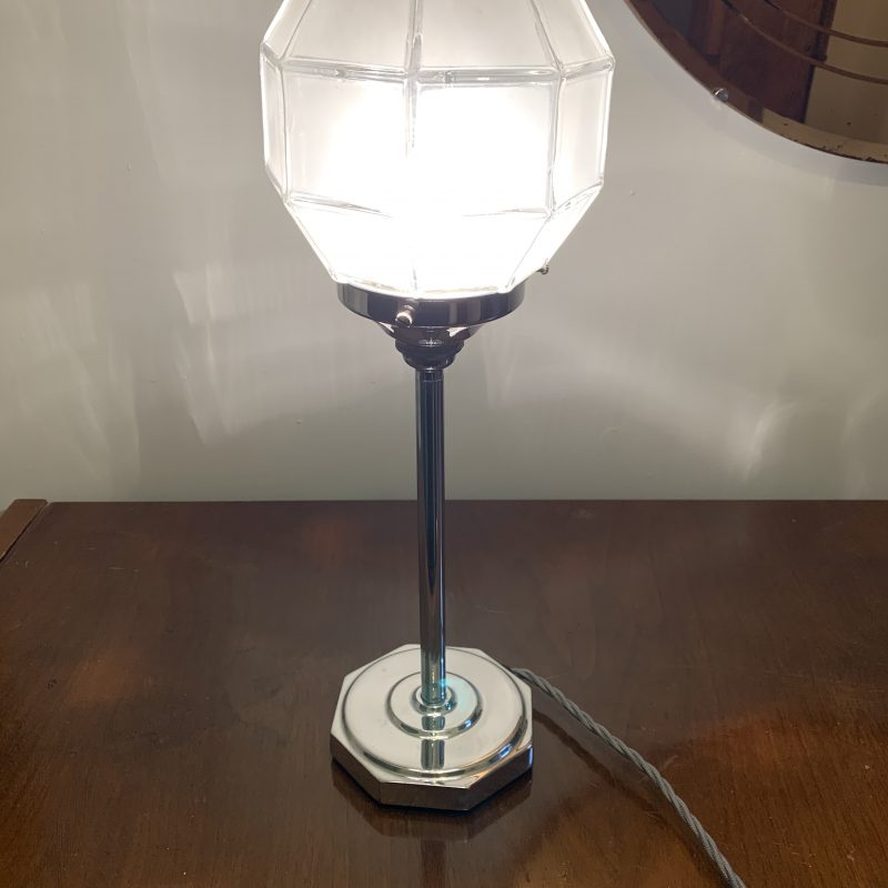 Art Deco Chrome Base and Opaque Glass Shade Lamp