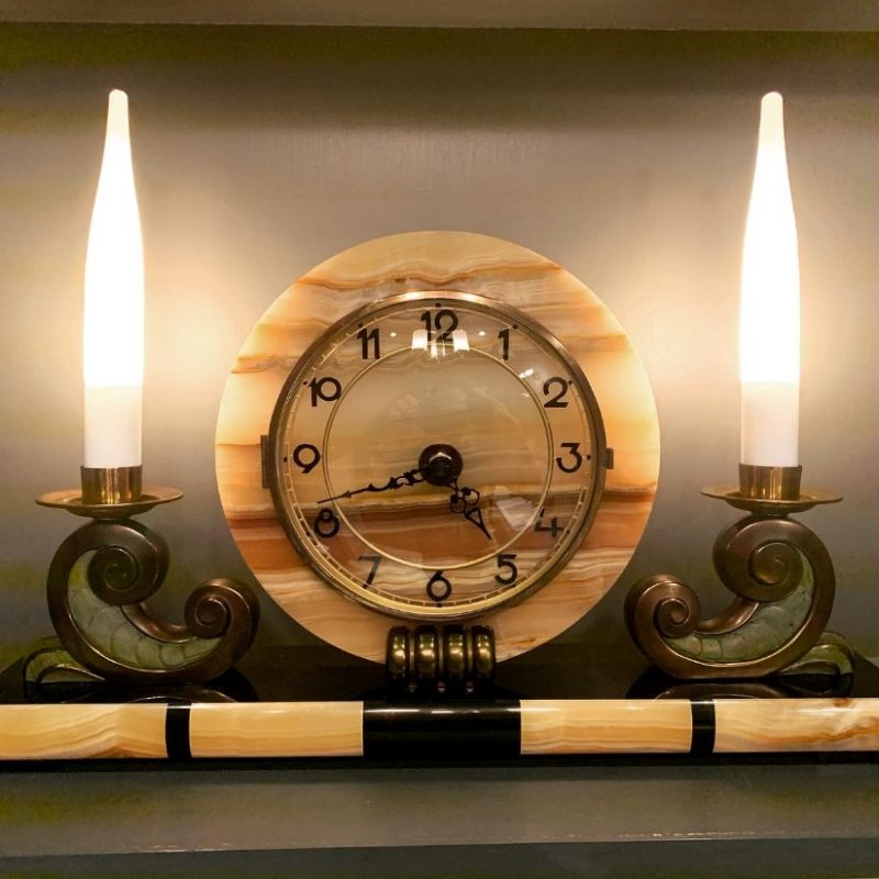 French Art Deco Clock with a Pair of Candle Lights