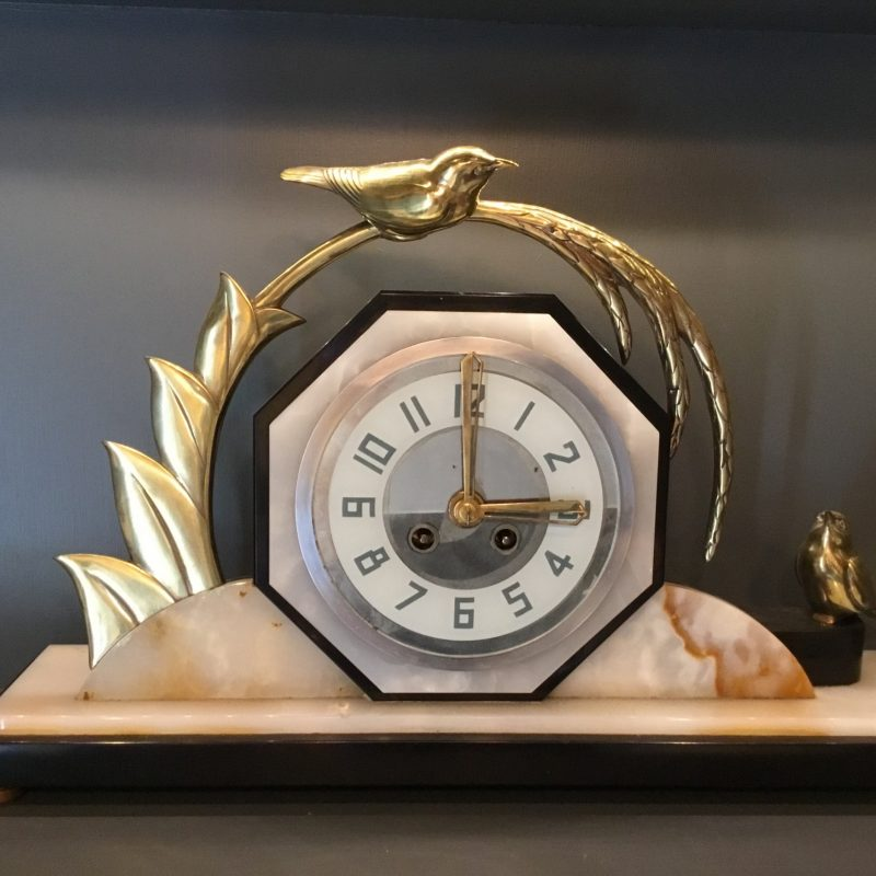 Art Deco French Mantel Clock with a sheaf of Wheat and two Birds