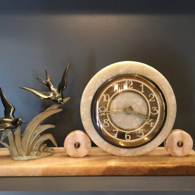 Art Deco French Alabaster Mantel Clock with Birds