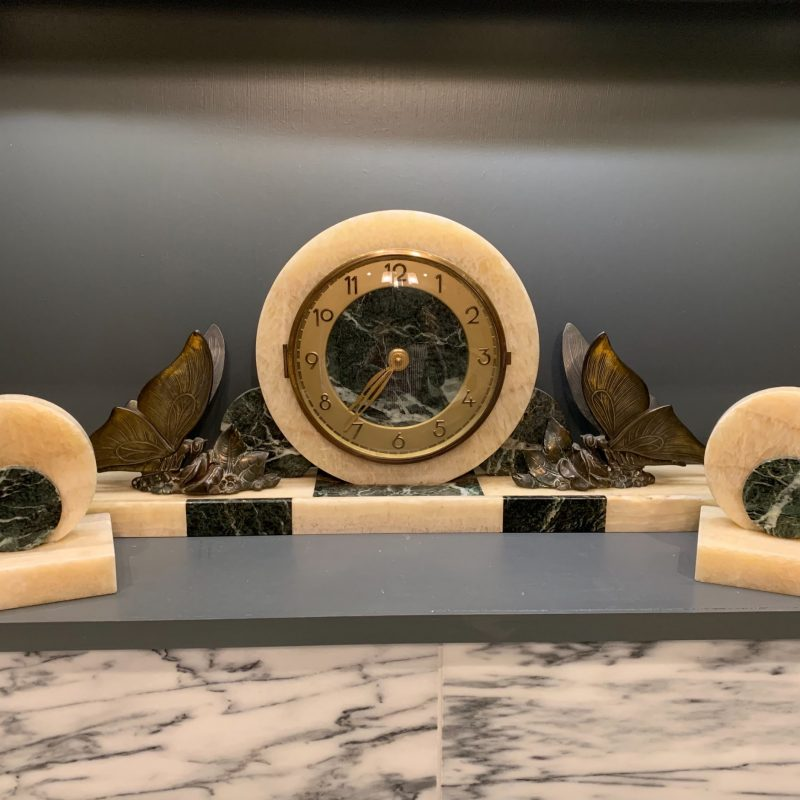 Art Deco French Butterfly Mantel Clock with Garnitures