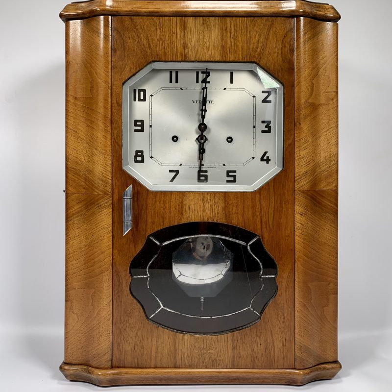 Art Deco Walnut Wall Clock by Vedette