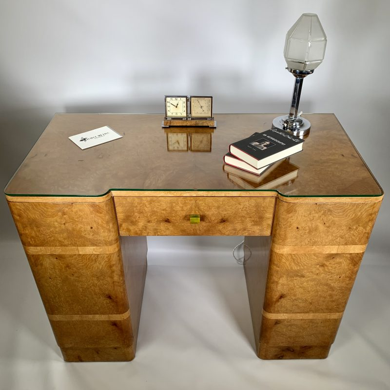 Art Deco Burr Maple Desk in the manner of Epstein
