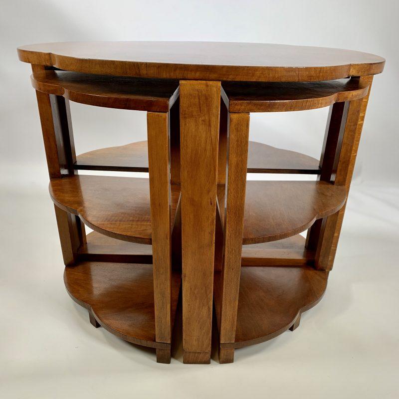 Art Deco Nest of 5 Walnut Tables